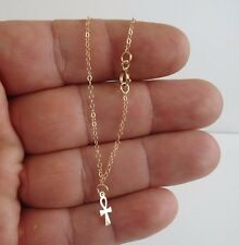 14K Solid Yellow Gold Ankle Bracelet W/ Cross Charm/ 10'' Long / Usa Made