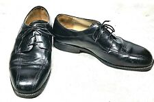 STANLEY BLACKER Men's Black Leather  Size 10.5 Medium Made In Italy Used.