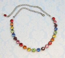 Bright RAINBOW Cup Chain Necklace w/ COLORFUL Swarovski Crystals TENNIS Necklace