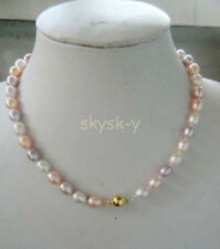 """beautiful 3 colors freshwater 7-8mm Rice natural pearl necklace 18"""" AA"""