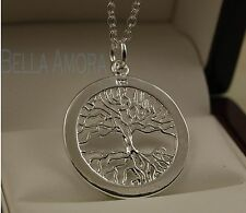 """925 Stamped Sterling Silver Plated Tree of Life Pendant - 18"""" Necklace Chain -83"""