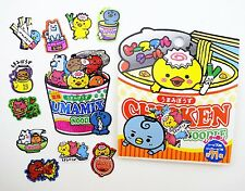 71 Japanese ramen instant noodle creature SCENTED kawaii shimmer sticker flakes!