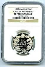 1908-1998 CANADA SILVER PROOF 50 CENT NGC PF70 RCM 90TH ANNIVERSARY HALF DOLLAR