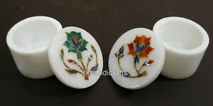 Set of 2 Pieces Marble Jewelry Box Beautiful Accessories BOX Size 2.5 Inches