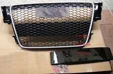 RS5 Style Black Honeycomb Grill Grille For Audi A5 S5 Sline 09 10 11 Silver Trim
