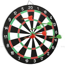 DARTBOARD DART BOARD WITH 6 DARTS IDEAL PARTY GAME PLAY SET DOUBLE SIDED