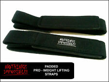 Weight Lifting PADDED Straps Bodybuilding Wrist Hand Bar Heavy Duty Pro - Range