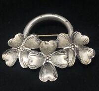 Vintage Sterling Silver Brooch Pin 925 Signed Danecraft Flower Basket Dogwood