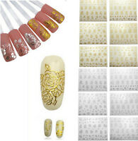 12 PCS Flower 3D Nail Art Stickers Decals Manicure Gold/Silver Decoration Tips