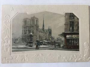Eugene Veder Notre Dame. Neige Paris Etching Color w/ embossing Christmas