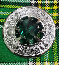 "Traditional Scottish Kilt Fly Plaid Brooch Green Stone Chrome Finish 3""/Metal"