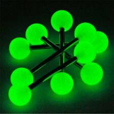 10 pcs Glow In The Dark Luminous Barbell Lip Tongue Rings Body Piercing Jewelry