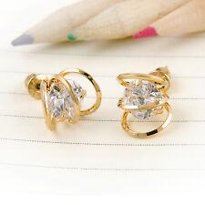 Fashion Gold Cutting Cubic Zirconia Women Stud Earrings Hot new ID887 Alloy