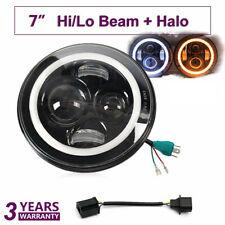 1xRound LED Halo Angel Eyes Headlight /w DRL Light For Wrangler Motor