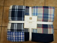 Pottery Barn Teen Maritime Madras Plaid Patchwork Quilt Full Queen Blue #2763