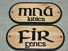 Ladies & Gents Mna Fir, Wood Men Women Restroom Bathroom Signs Irish