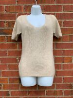 MAX STUDIO Tan Knit Short Sleeve Cashmere Sweater Size Medium