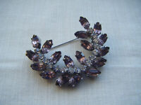 Vintage purple and clear glass diamante stones brooch pin C1950/60s