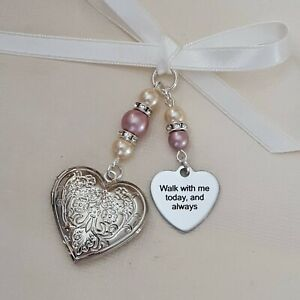 """A Wedding Bouquet Charm Embossed Heart Silver Locket, """"walk with me today"""""""