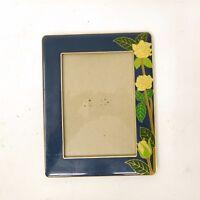"""Vintage Brass & Roses Blue Enamel Metal Picture Frame Fits 4.5"""" x 6.5"""""""
