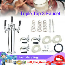 More details for stainless steel triple tap 3 faucet draft beer tower for bar home brew kegerator