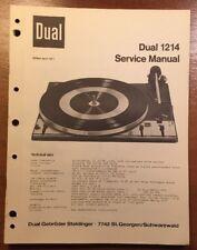 DUAL 1214 TURNTABLE ORIGINAL SERVICE MANUAL P110