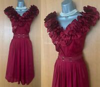 KAREN MILLEN UK 12 Dark Red Silk Frilled Front Cocktail Party Prom Flare Dress