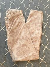 J Brand Jeans Floral Antique Paisley Pattern Pale Pink Skinny Capri Pants Sz25