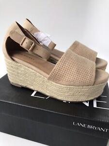 Lane Bryant Espadrille Platform Palomino Tan Sandals (Size 9W) WIDE