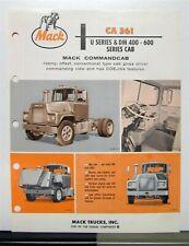 1968 Mack Truck Model CA 361 Sales Brochure & Specification Sheet