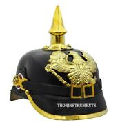 Officer Helmet Black Leather & Brass German Spiked Imperial