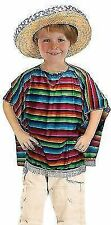 Childrens Boys Girls Mexican Poncho Mexico Gringo Fancy Dress Costume