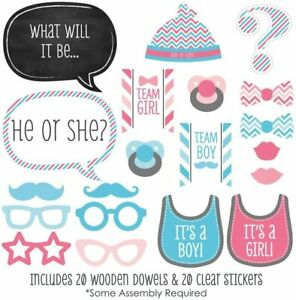 20x Colourful Boys & Girls Gender Reveal Props Kit Photo Booth Prop Baby Shower