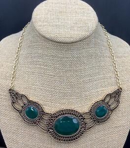 Barse Nova Collar Necklace- Emerald Quartz & Other Stones-Bronze- NWT