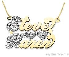 Personalized 2 Name Diamond Open Heart Nameplate Necklace Yellow Gold Plated.