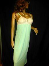M 34 36 Vtg Silky Soft Nylon Aqua Lingerie Long Slip Night Gown Crochet Lace