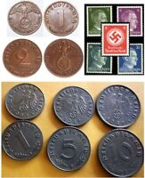 COLLECTION 15 NAZI COINS/STAMPS (13 w  HITLER or SWASTIKA) @ 2.99! LOWEST PRICE!