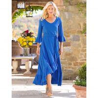 NWT Soft Surroundings Springtime Ruffles Maxi Dress Olympian Blue Size Medium