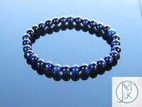 Blue Tigers Eye Dyed Natural 6mm Gemstone Bracelet 7-8'' Elasticated Healing
