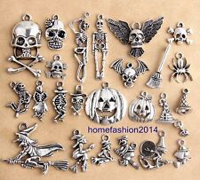 48pcs Mixed Halloween Charms Antique Silver Tone Alloy Pendants Findings 25C