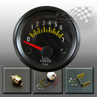 "Oil pressure gauge black bezel interior dash panel mount 52mm 2"""