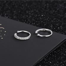 Sterling Silver CZ Hoop Huggie Ball Ear Cuffs Non Pierced Clip On Earrings E6