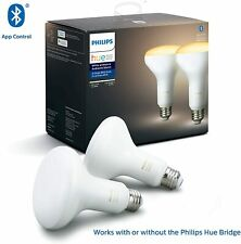 Philips Hue White Ambiance 2-Pack BR30 LED Smart Bulbs Bluetooth compatible