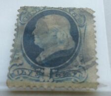 1879 USA 1c blue Franklin soft paper Stamp Nat Bank Co. used