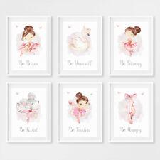 Pink Ballerina Princess Baby Girl Nursery Prints Childrens Room Pictures Decor