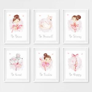 Pink Ballerina Princess Baby Girl Nursery Prints Childrens Room Pictures Decor