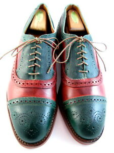 """NEW Allen Edmonds """"HOLLY MOK"""" Cap-Toe Oxfords LIMITED ED 10 EEE Green/Red (636)"""