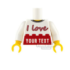 Engraved LEGO Minifigure Torso - I Love - Customise with your own text