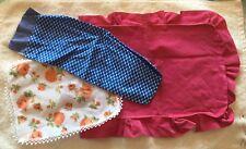 Vintage Lot Barbie Doll Pink Bedspread Blue Sleeping Bag Floral Blanket Nice