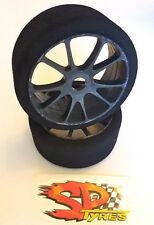 SP 1/8 Foam GT Tires mounted on Black Rims Shore 40 Med Scale Serpent Hobao GTB